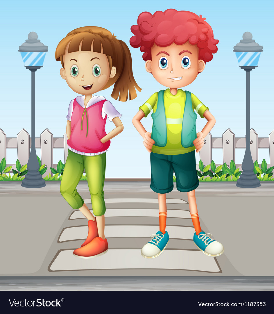 Kids at the pedestrian lane vector