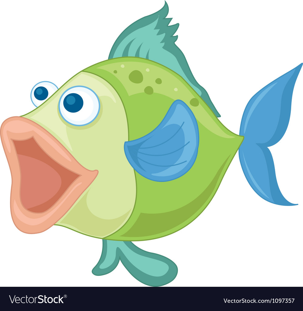 A blue-green fish vector