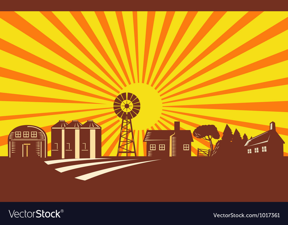 Farm barn silo windmill retro vector