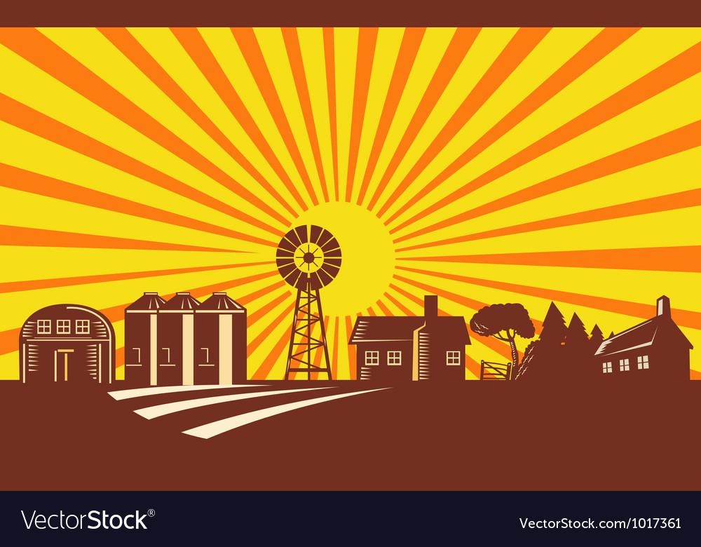Farm barn silo windmill retro vector