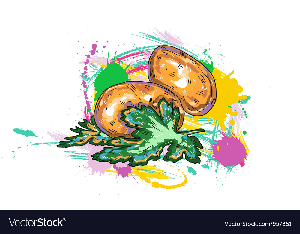 Vegetables with grunge vector