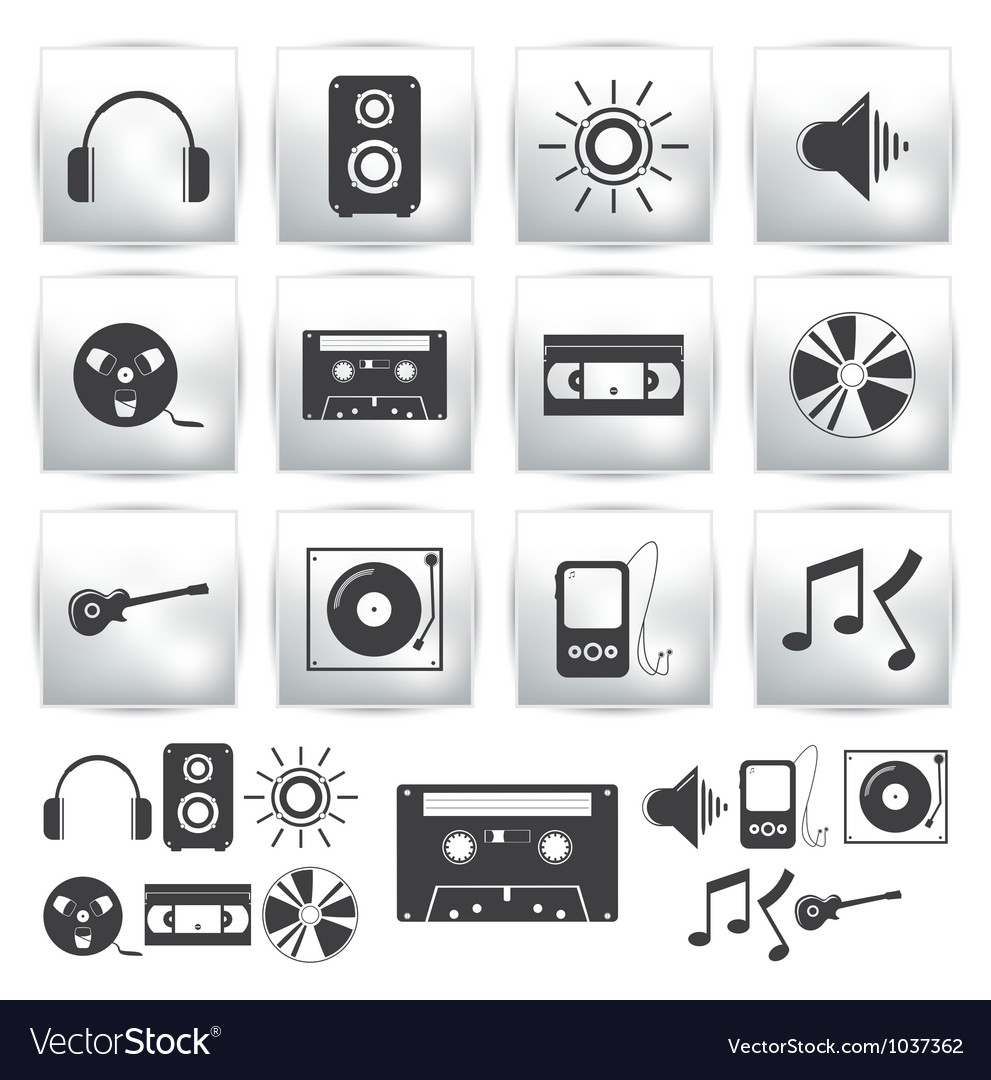 Icons set  music sound vector