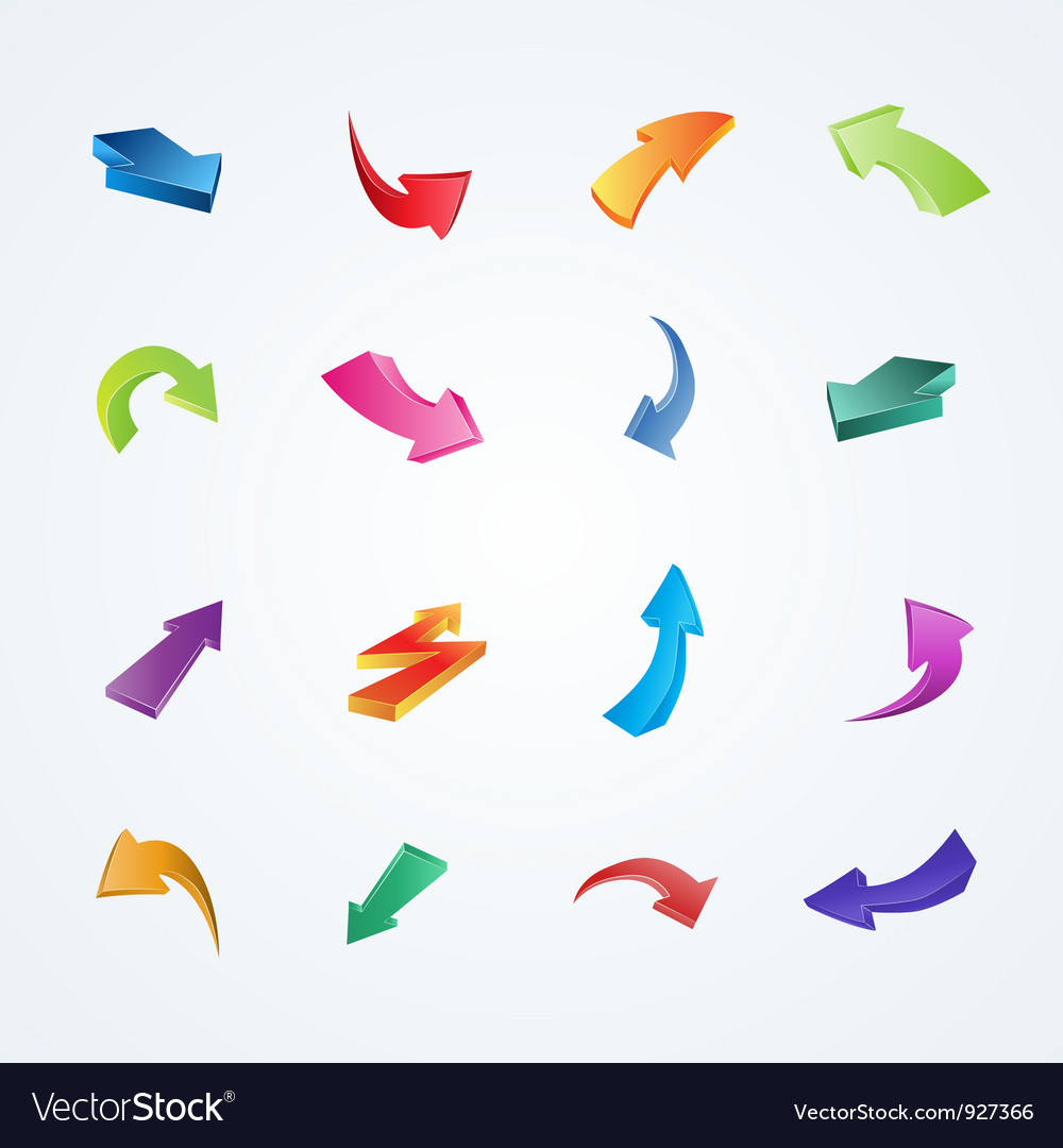 Colorful collection of 3d arrows vector