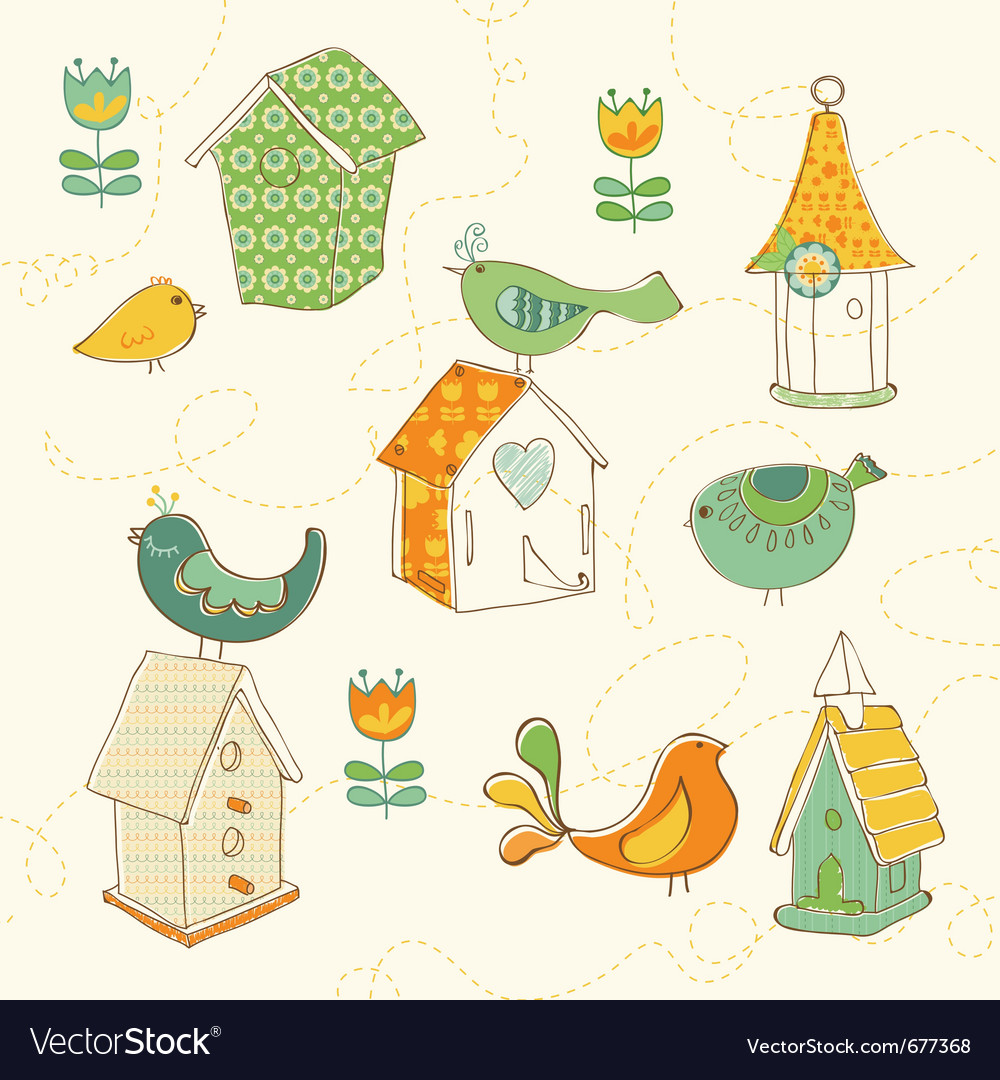 Bird houses doodles vector