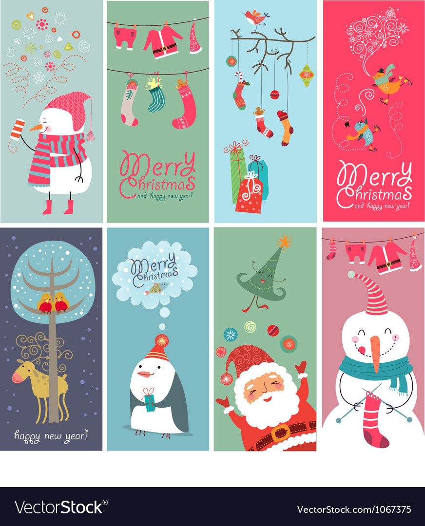 Christmas banners with funny characters vector