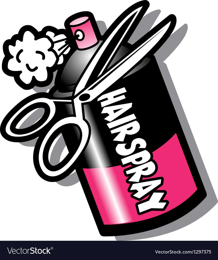 Hairspray and scissors vector