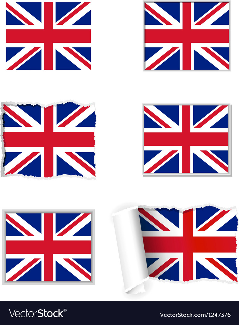 United kingdom flag set vector