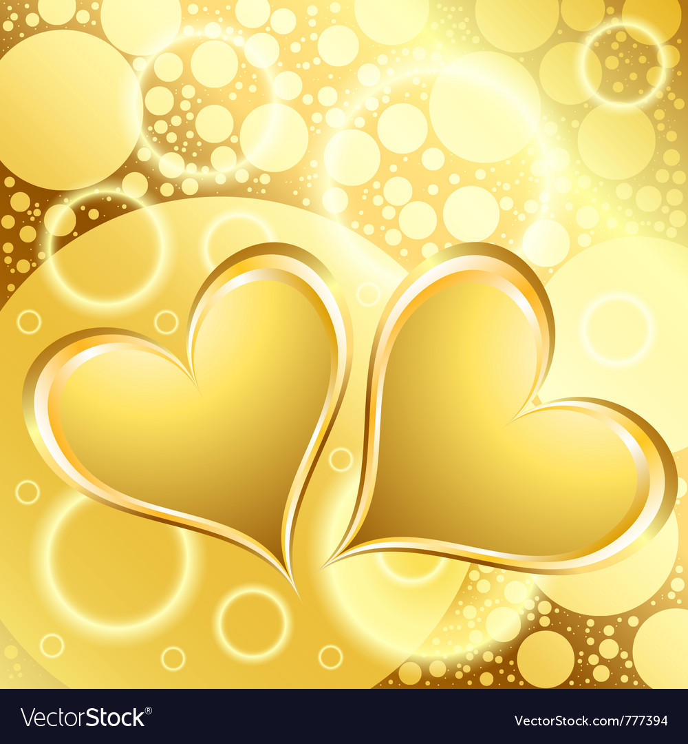 Gold heart shiny background vector