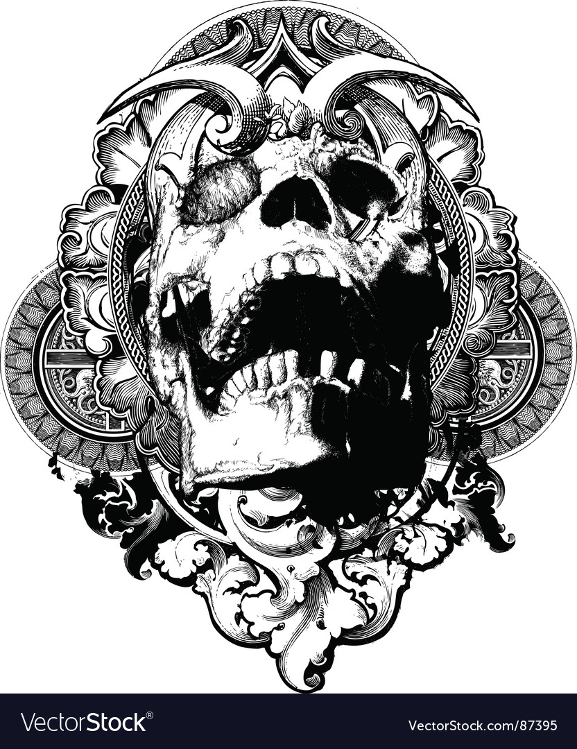 Wicked skull shield illustration vector