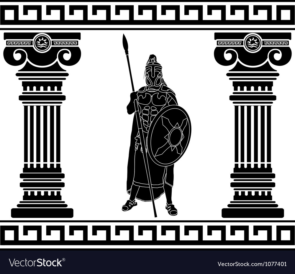 Black warrior with with columns first variant vector