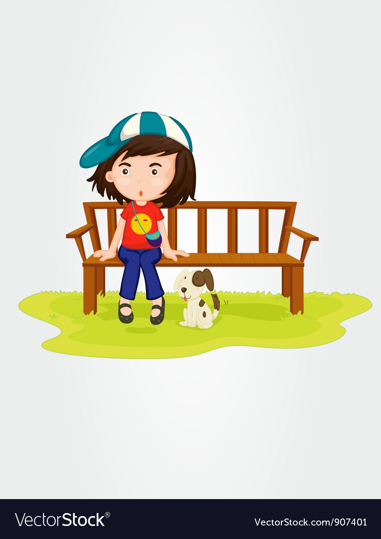 Girl sitting with dog vector