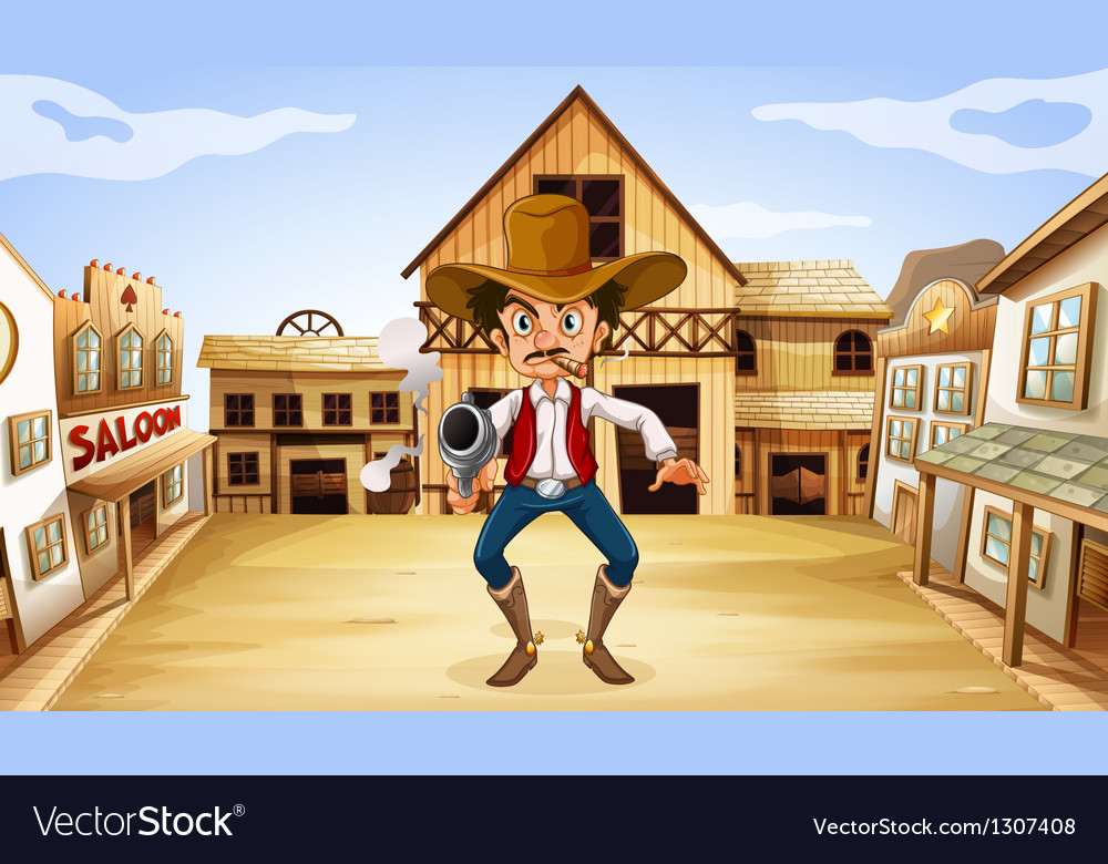 An armed man near the saloon vector