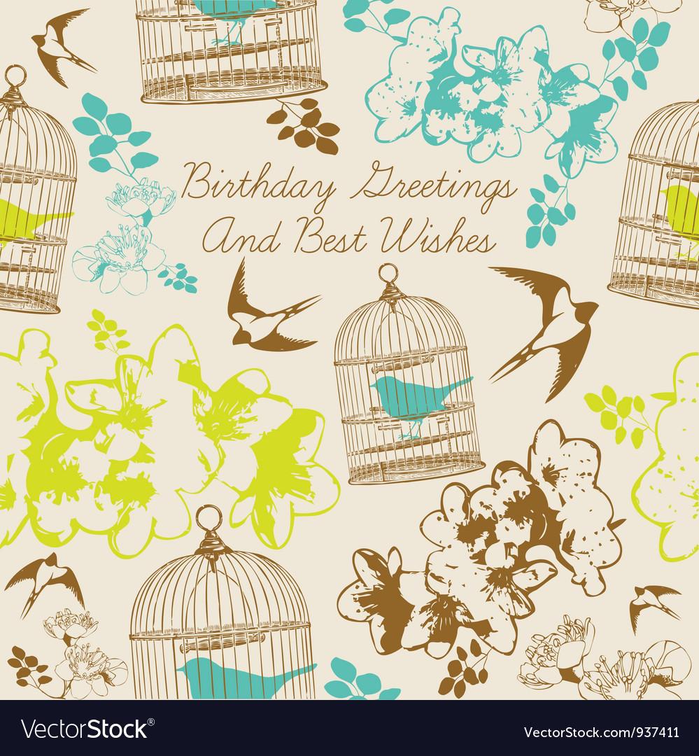 Birthday swallows card vector