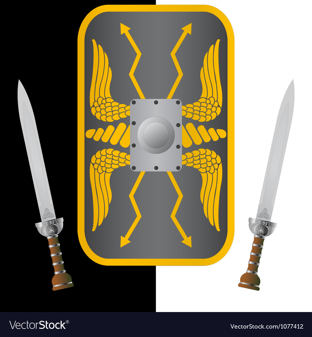 Fantasy shield and sword ninth variant vector