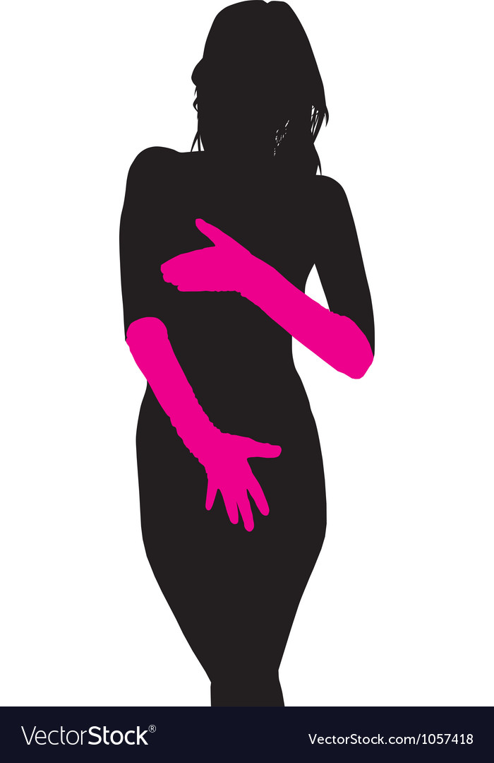 Shy naked woman vector