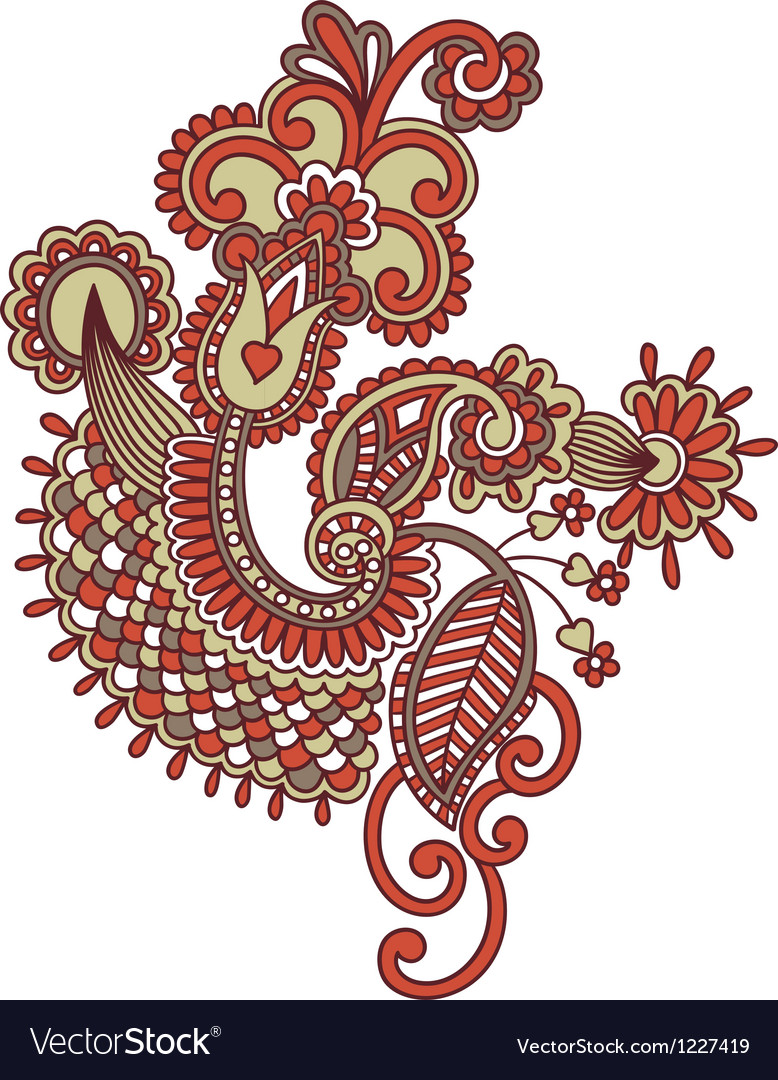 Hand draw ornate doodle flower design vector