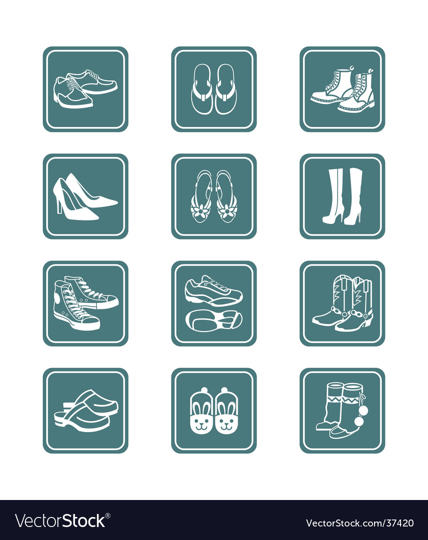 Footwear icons  teal series vector