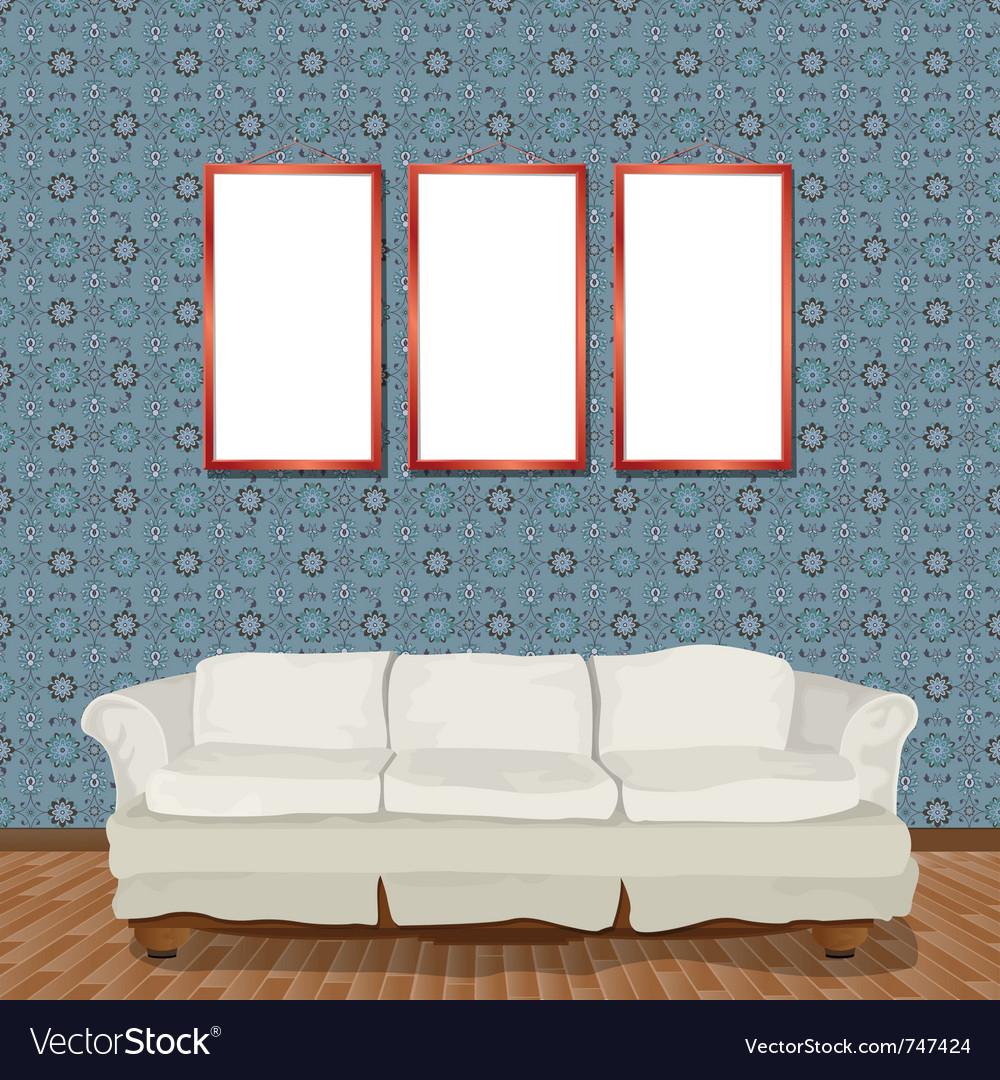 Stylish white sofa vector