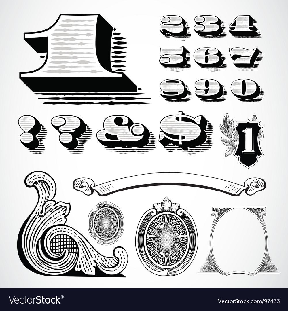 Decorative numbers vector