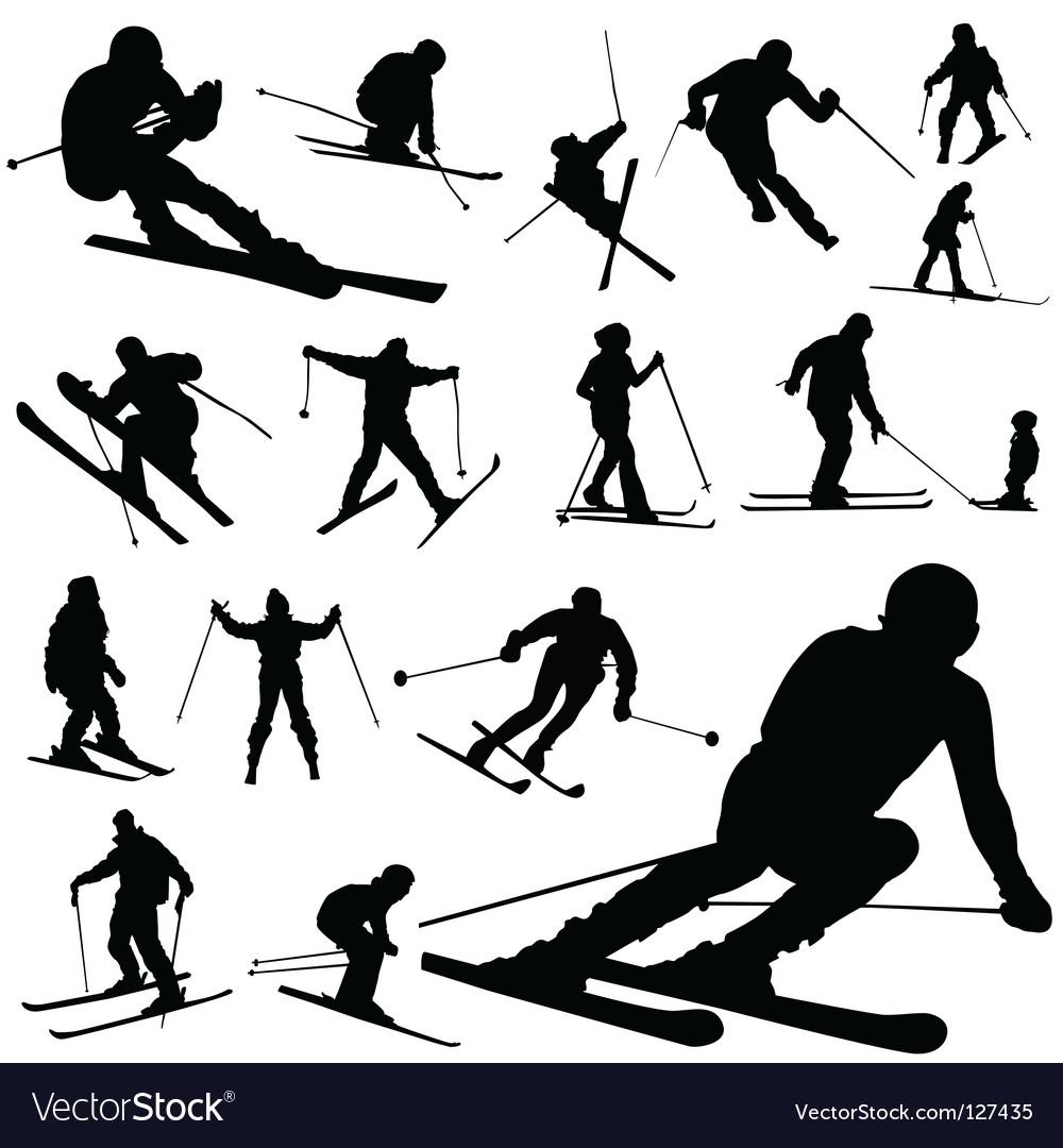 Ski silhouettes vector