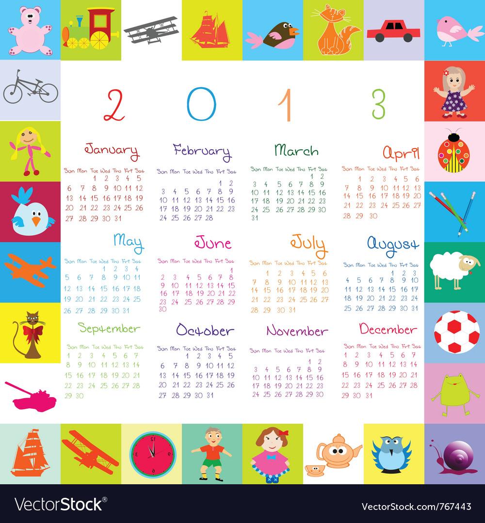 2013 calendar for kids vector
