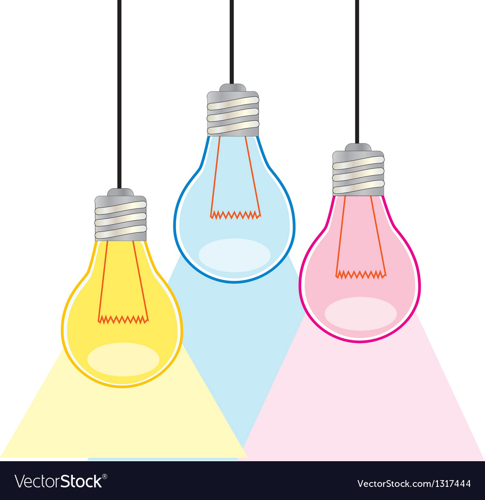 Colorful light bulbs vector