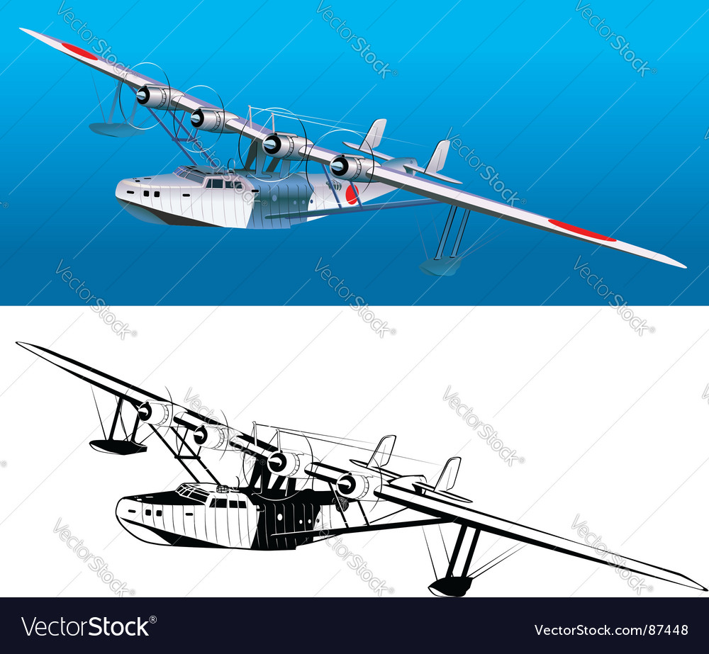 retro seaplane 30-s vector
