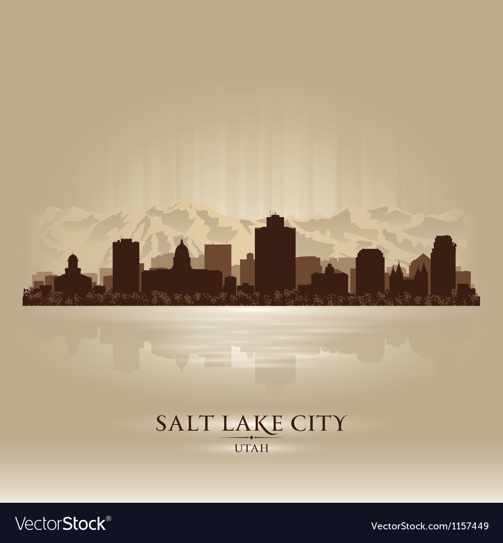 Salt lake city utah skyline city silhouette vector