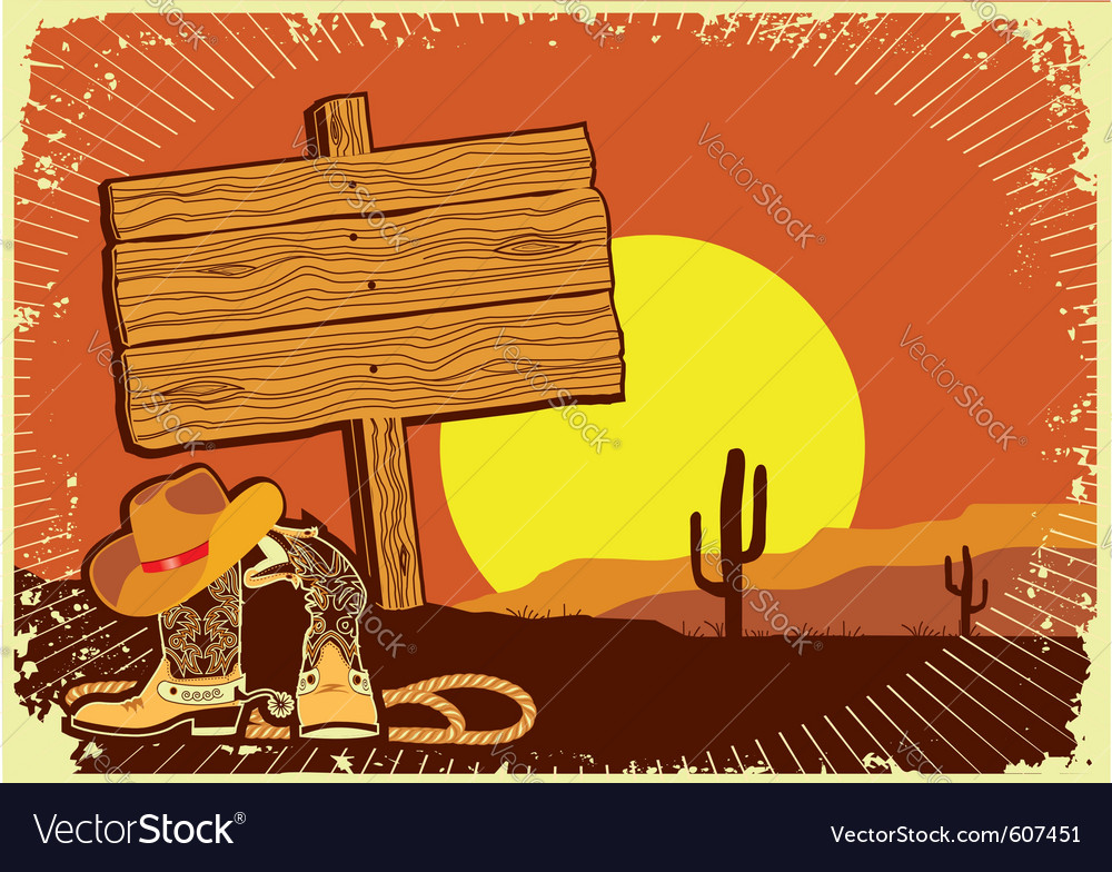 Cowboys landscape vector