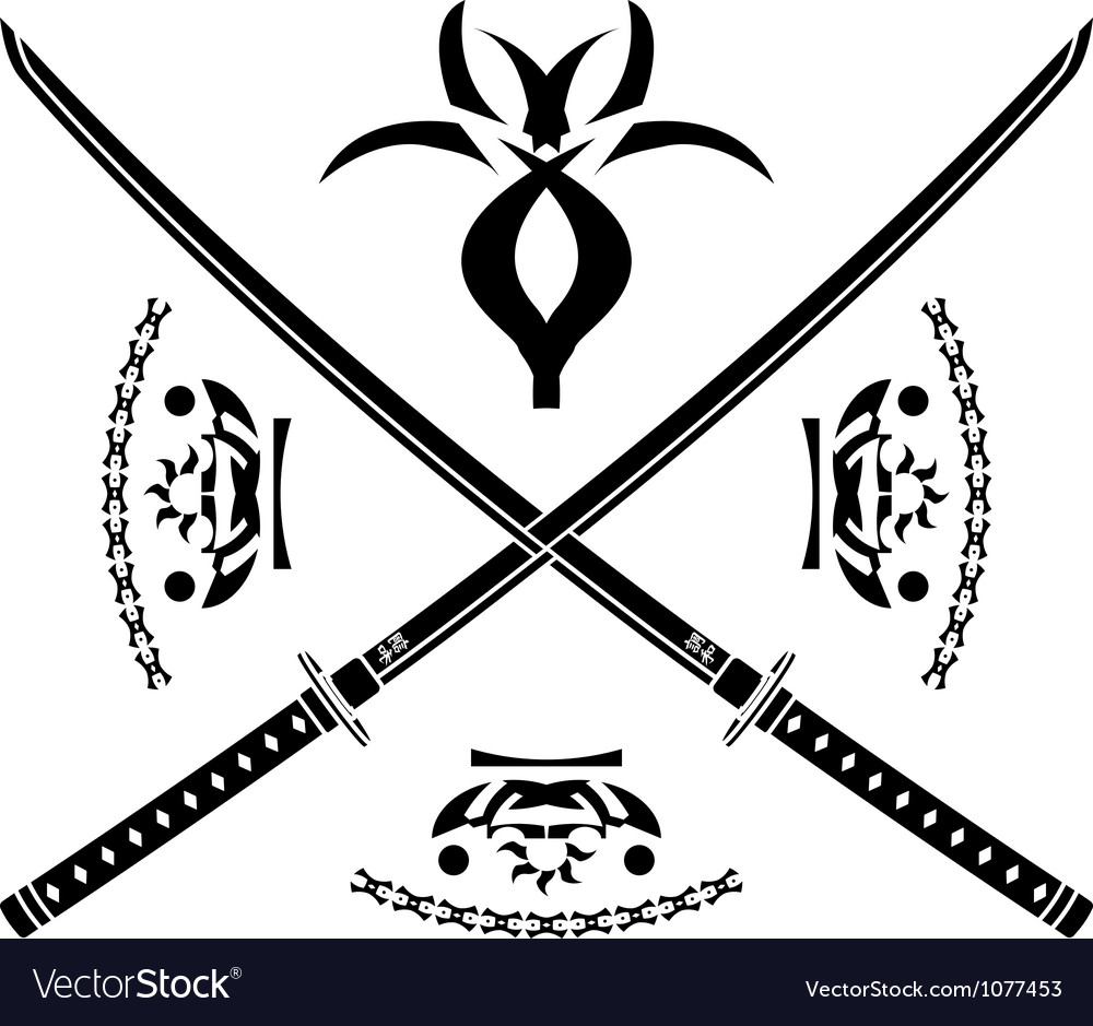Japanese swords vector