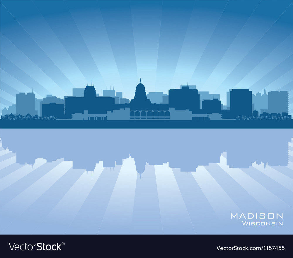 Madison wisconsin skyline city silhouette vector