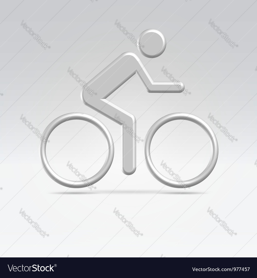Silver cyclist icon vector