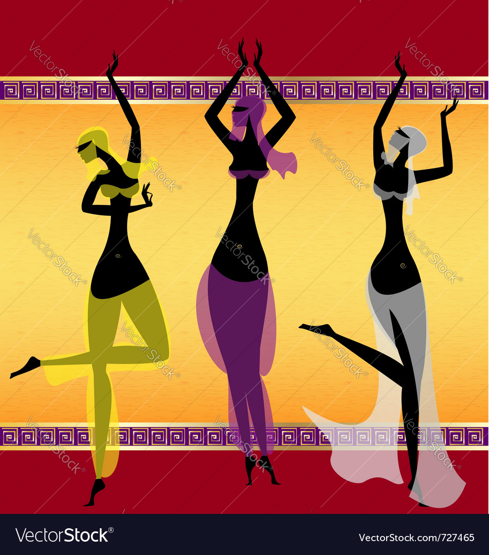 Three oriental girls dancing vector
