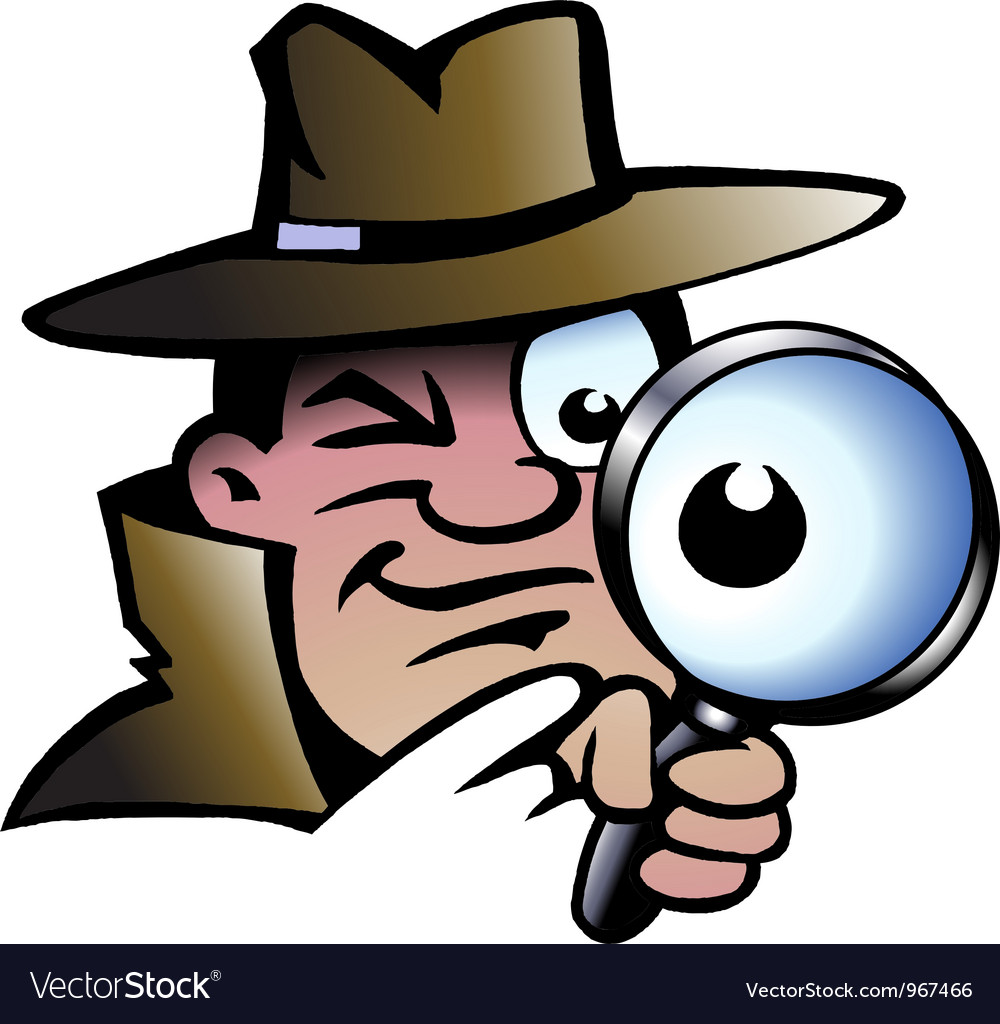 Hand-drawn of an inspector detective vector
