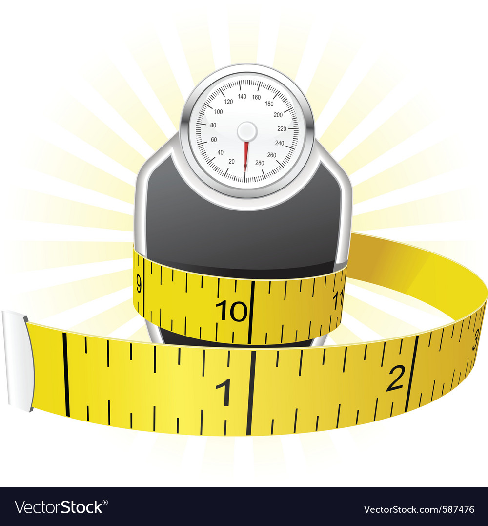 Weights and tape measure vector