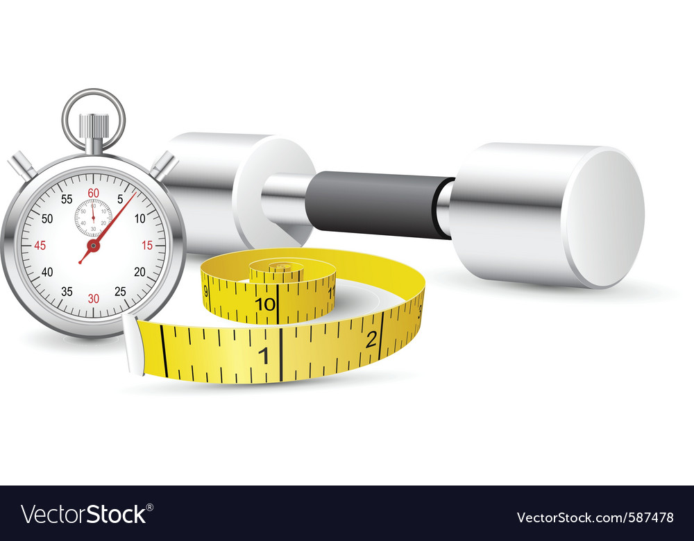 Stopwatch and measuring tape vector