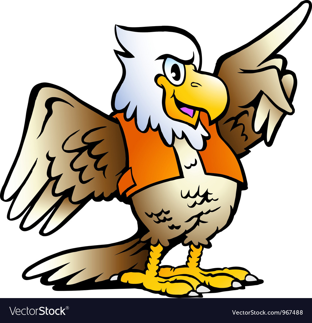Hand-drawn of an pointing eagle vector