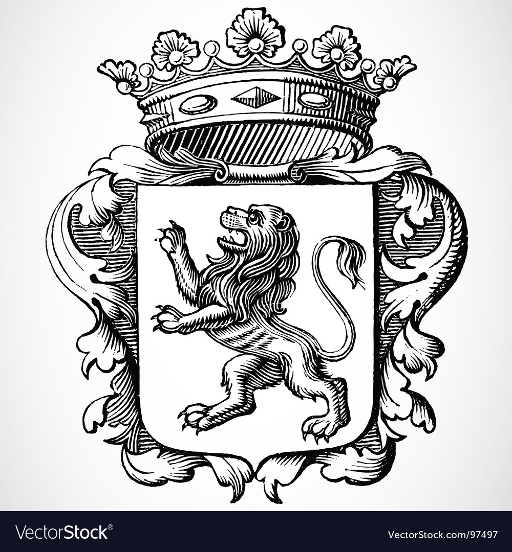Lion and crown vector