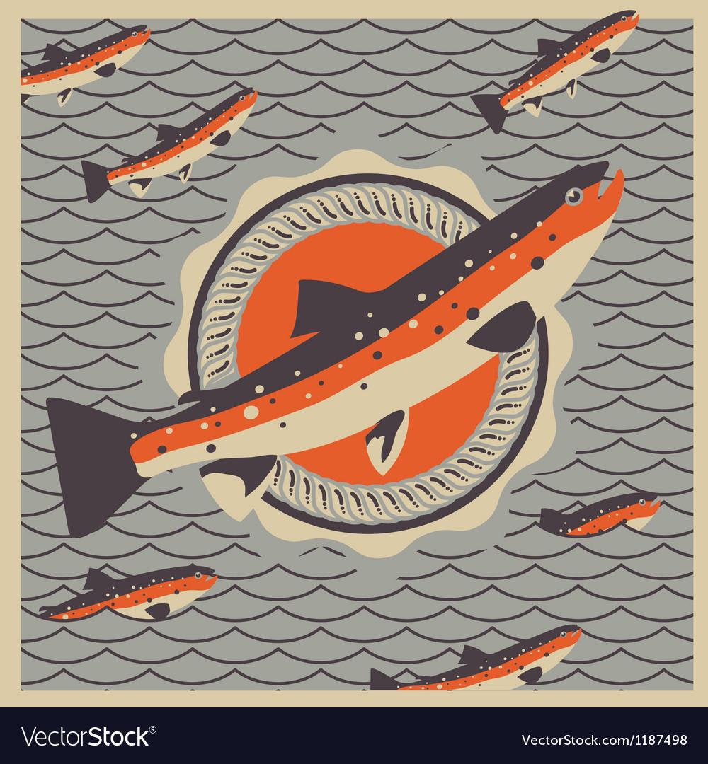 Salmon fish mascot in retro style background vector