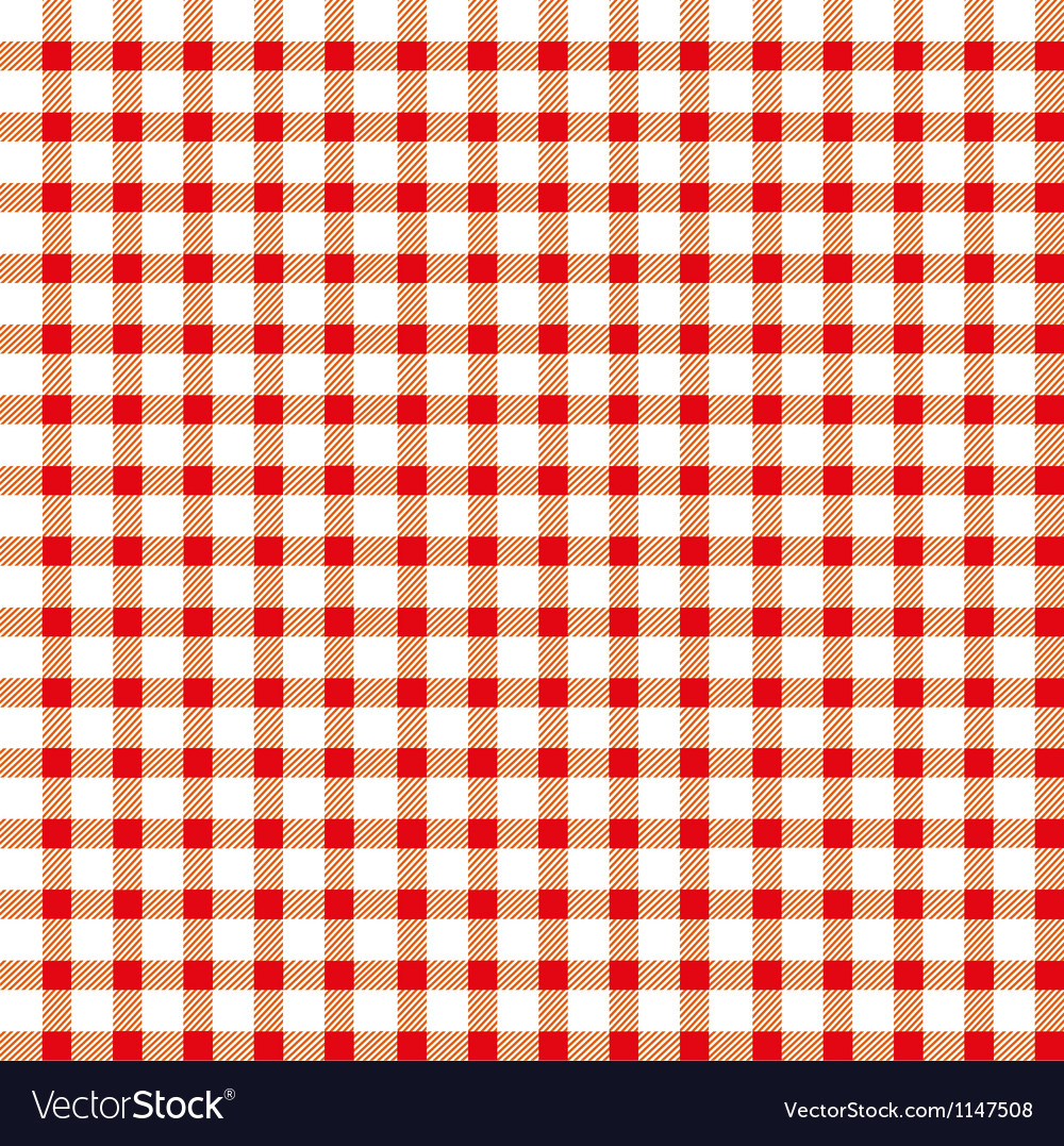 Seamless retro white-red square tablecloth vector