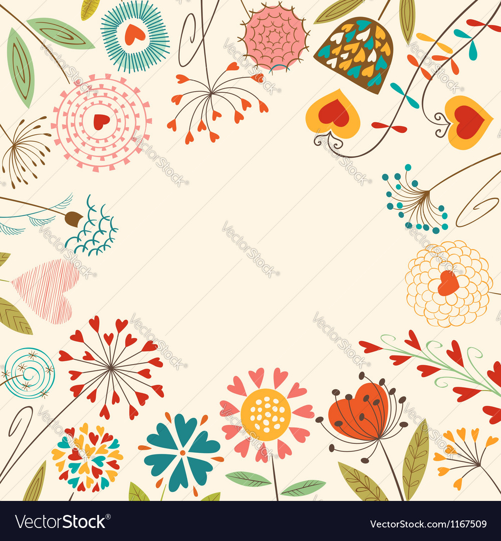 Floral hearts card vector