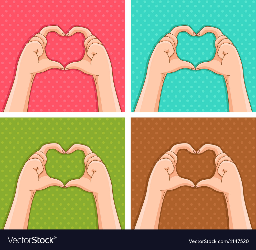 Handy hearts vector