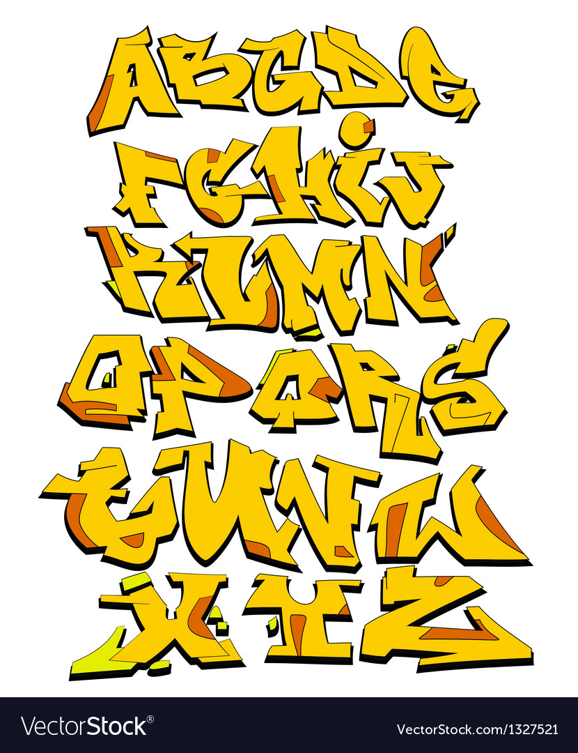 Graffiti alphabet urban font vector
