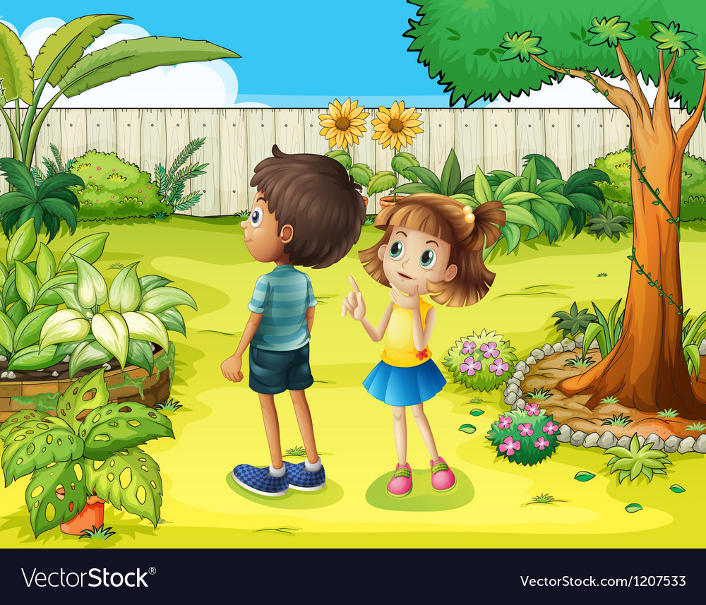 A boy and a girl discussing in the garden vector