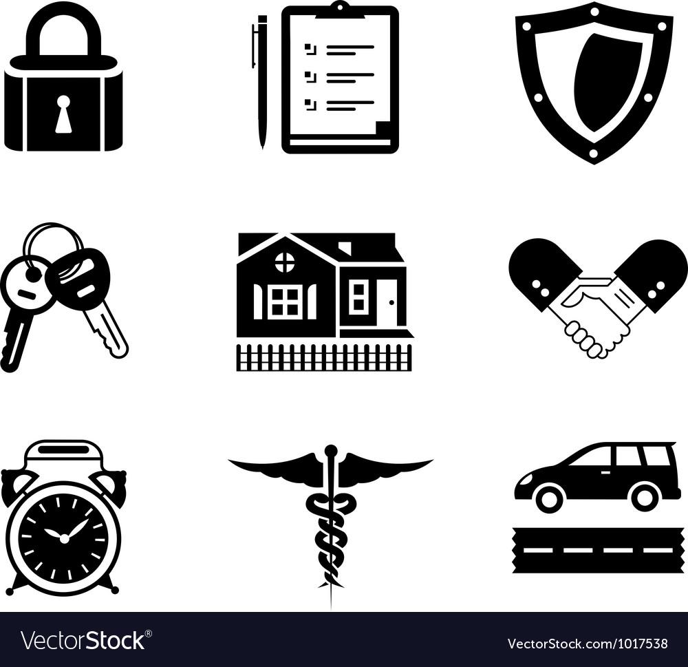 Handshake insurance icons vector