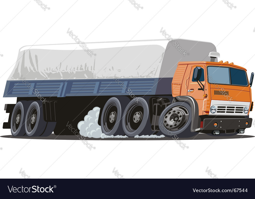 Vector Cartoon Cargo Truck Semi Lorry Tattoo Picture