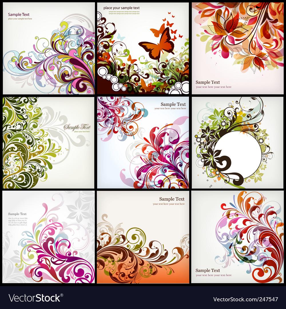 Floral graphics set vector