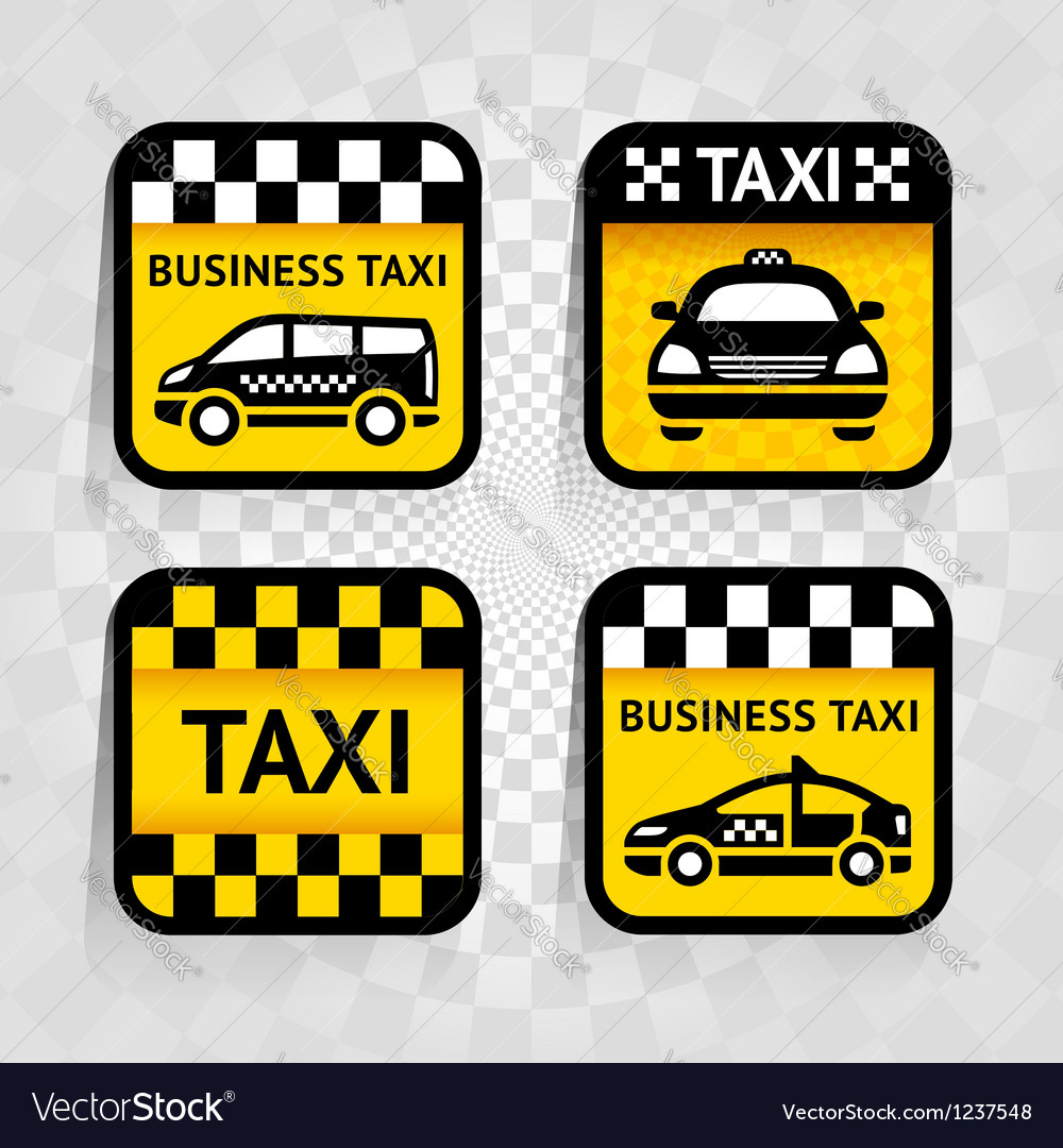 Taxi - set square stickers vector