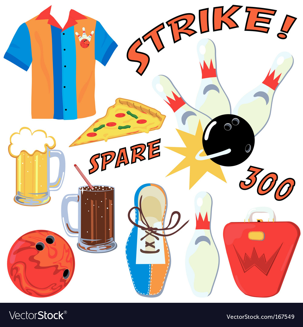 Bowling party clip art icons vector