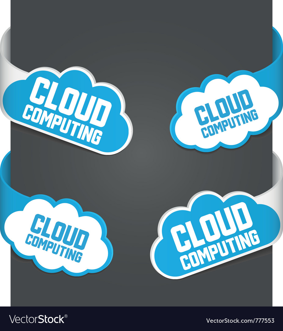 Left and right side signs - cloud computing vector